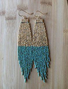 254e67f20 Mayapan Earrings native inspired seed bead beaded fringe earrings turquoise  earrings bohemian gold e Drop Earrings