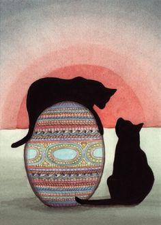 Black cats toying with Faberge Easter egg / Lynch signed