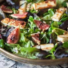 Winter Salad with figs, grilled halloumi and Pomegranate Balsamic Dressing-perfect for a light dinner or a glorious lunch.