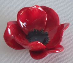 Remembrance day Poppy Handcrafted ceramic flower by BronsCeramics