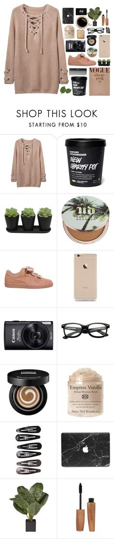 """""""cozy"""" by psycho-logic ❤ liked on Polyvore featuring WithChic, Sephora Collection, Urban Decay, Puma, Toast, Clips, Rimmel and H&M"""