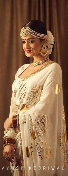 Fresh New Bridal Lehenga & Bridal Saree Designs by Ayush Kejriwal! Indian Bridal Sarees, Indian Bridal Outfits, Indian Bridal Wear, Bridal Lehenga, Indian Dresses, Bridal Dresses, Pakistani Outfits, Indian Wear, Bollywood Stars