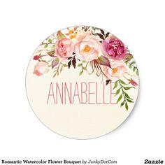 Romantic Watercolor Flower Bouquet Classic Round Sticker @zazzle #junkydotcom Aug 1 2016  3x