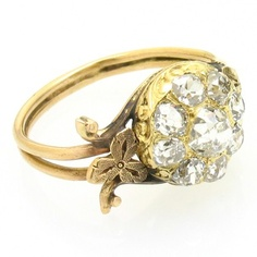 Vintage 1880's Gold & Diamond Cluster engagement ring