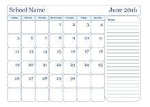 Monthly School Calendar With Notes  Berlena    School