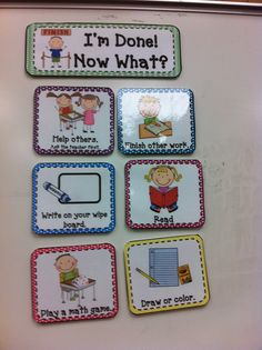 I M Done Now What Classroom Ideas Kindergarten Klassenzimmer - Kindergarten World - Kindergarten Classroom Behavior Management, Classroom Organisation, Teacher Organization, Classroom Setup, Teacher Tools, School Classroom, Classroom Activities, School Fun, Classroom Schedule