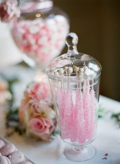 Rock Candy Sticks ..Pretty for Tea  I adore rock candy!  So pretty and pink.  It's lovely!