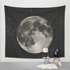 The Moon [Sans Type] Wall Tapestry by Heather Landis | Society6