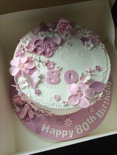 Beautiful 80th birthday cake.