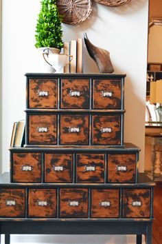 This beautiful vintage apothecary cabinet from Let's Get Crafty features our label holders and truly is a beauty!