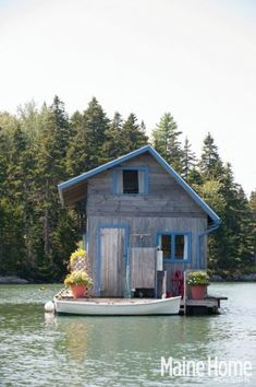 tiny floating cottage in maine 0001   Couple Build Tiny Floating Cottage to Live Simply In