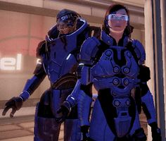 Photo: My Femshep and Garrus at C-sec,