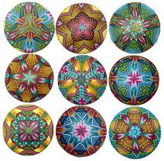 kaleidoscope pendants (Polymer Clay) by Carol Simmons