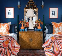 parker kennedy house beautiful bedroom blue and orange Laurel Home house beautiful bedrooms - House Beautiful Bedroom Orange, Bedroom Colors, Bedroom Decor, Bedroom Ideas, Blue Bedrooms, Beautiful Bedrooms, Beautiful Homes, House Beautiful, Beautiful Beautiful