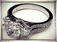 Three Stone Cushion cut Diamond Vintage Style Split Band Engagement Ring For Large Diamonds
