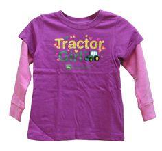 "Toddler John Deere ""Tractor Girl"" Longsleeve Shirt (Fuscia)"