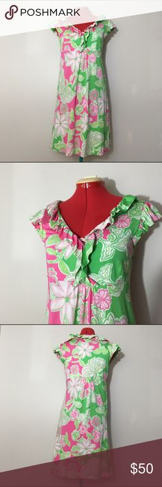 Lilly Pulitzer Clare Silk Jersey Dress Clare style Silk jersey dress by Lilly Pulitzer. Color is 'prep green' and pattern is 'hit the spot'. Ruffle v-neck. Cap sleeves. Empire waist. Only flaws is one tiny pulled stitch and two small stains, but these are not noticeable when on. No other flaws. Still in great condition. Measurements coming soon. 73% Silk 27% cotton. ❌No trades❌ Lilly Pulitzer Dresses