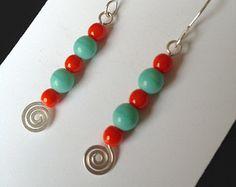 Fair Trade Mint & Red Swirly Sterling Earrings