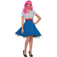 Pop Art Ms Dottie Costume - Adult Standard (35 AUD) ❤ liked on Polyvore featuring costumes, halloween costumes, adult costumes, polka dot costume, adult halloween costumes, pop art halloween costume and white costumes