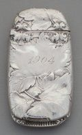 Gorham silver match safe with oak foliage date 1904.