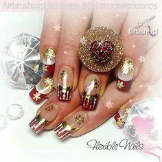 Navideñas doradas uñas