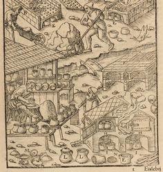 Alfarero trabajando sobre un torno de doble rueda y balaustres, con eje fijo y pivotamiento superior, accionado con el pie. Georg Bauer (Georgius Agricola), De Re metallica libri XII, Basilea 1556, Libro Octavo, p. 217