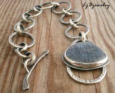 Cadena anillas de plata esterlina pulsera cabujón azul Coral