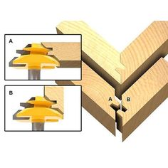 Joinery :: Glue Joint :: Miter Glue Joint :: Set of 3 Lock Miter 45 Degree Glue . Joinery :: Glue Joint :: Miter Glue Joint :: Set of 3 Lock Miter 45 Degree Glue Joint Router Bits - 15334 Fine Woodworking, Woodworking Tool Kit, Popular Woodworking, Woodworking Furniture, Woodworking Projects Plans, Woodworking Techniques, Youtube Woodworking, Woodworking Magazine, Woodworking Classes