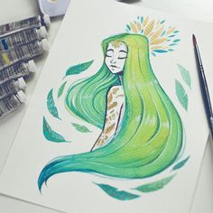 """@raqueltraveillustration on Instagram: """"Lime Girl"""" I'm selling this original in my (NEW) Etsy shop! :D link on my bio! If you have an etsy shop tell me in comments, I'd like to know more people in this brand new world :'D #illustration #original #etsy #etsyshop #traditional #art #watercolor #acrylic #gouache #gold #green #blue #girl #sell #winsorandnewton #lime"""
