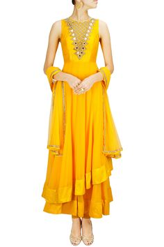 Sunny yellow two-layered mirror work anarkali set