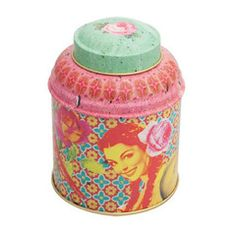 COMPTOIR LIBANAIS TWO 7.5CM HERB OR TEA CANISTERS WITH MULTI-COLOUR ROSE PATTERN