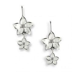 Wedding Earring Style: Nicole Barr Fine Enamel and Sterling Silver Floral Drop Earrings