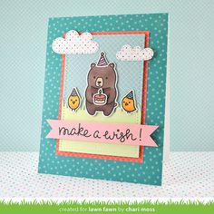 Lawn Fawn - Party Animal, Grassy Border, Spring Showers, Stitched Rectangle Stackables, Pint-sized Patterns, Beachside _ card by Chari for Lawn Fawn Design Team