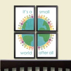 Baby Girl Nursery Art Print It's a Small World Set of by justbunch, $59.00
