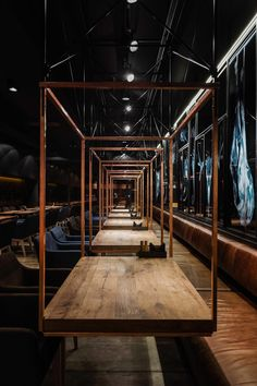 """Meat Restaurant """"Sazha"""" / YOD design lab Completed in 2017 in Sumy, Ukraine. Images by Andriy Avdeenko. Sazha – it's a meat restaurant in Sumy, focused on developing the culture of consumption of steaks in the city. The restaurant's building, like the… Design Lab, Cafe Design, Design Ideas, Design Shop, Layout Design, Meat Restaurant, Restaurant Tables, Restaurant Ideas, Culture Restaurant"""