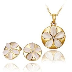 New Sale Womens Beautiful 18k Jewelry Set Necklace And Earings With OpalS338 ** Details can be found by clicking on the image. Note:It is Affiliate Link to Amazon.
