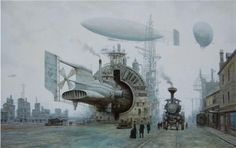 Gorgeous steampunk painting by Vadim Voitekhovich