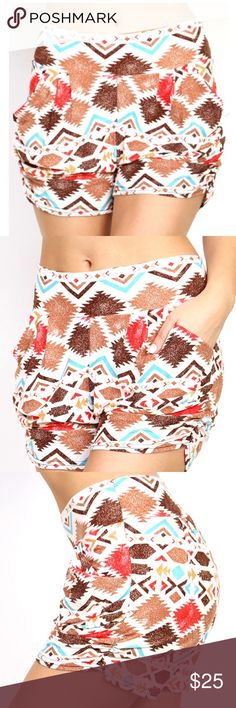 """Tribal print Harem shorts Luxurious, soft and stretchy shorts for casual or dress up wear! These adorable, sexy and comfortable shorts come featuring side pockets and banded waist Body length: 14.5"""" Inseam: 3"""" Shorts"""