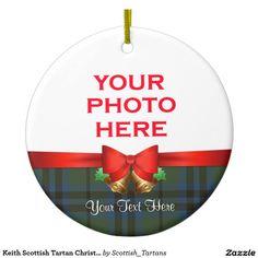 Keith Scottish Tartan Christmas Photo Double-Sided Ceramic Round Christmas Ornament