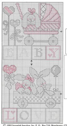 Schema punto croce Baby Bunnies Afghan 03