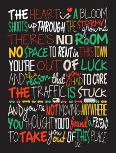 U2 Beautiful Day / Song Lyric Typography Poster by CreativePrint