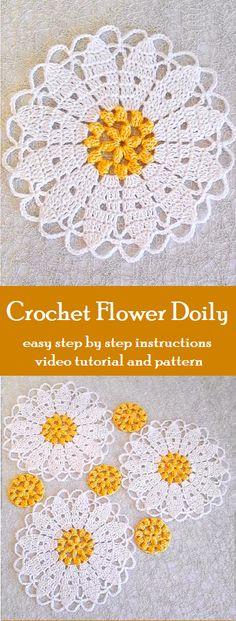 36 Ideas For Crochet Doilies Crafts Sew Picot Crochet, Thread Crochet, Crochet Motif, Crochet Doilies, Easy Crochet, Crochet Stitches, Crochet Coaster, Lace Doilies, Crochet Flower Squares