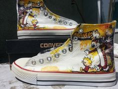 Calvin and Hobbes Custom Converse All Stars by ArkhamPrints