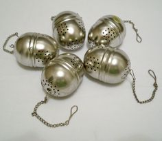 Vintage lot of tea infuser balls with chains  by CheeseGrits