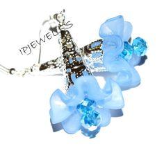 Blue lucite flower earrings silver crystal beaded by ipjewelss, $0.20
