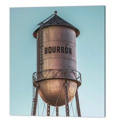 Photograph - Vintage Bourbon Water Tower At Cool Light by Gregory Ballos Missouri, Thing 1, Metal Artwork, Water Tower, Beautiful Textures, Detail Art, Water Tank, Wood Print, Clear Acrylic