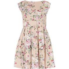 **Closet Pink Blossom Tie Back Dress (€72) ❤ liked on Polyvore featuring dresses, pink, flower dress, flower pattern dress, pink dress, floral print skater dress and floral print dress