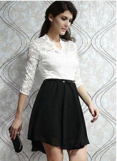 Elegant V-neckline lace bodice dress