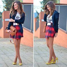 "lookbookdotnu: ""Tartan Asymmetric Hem Skirt (by Helena Cueva) """