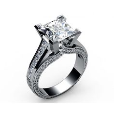 Princess on top of channel-set Diamond Engagement Ring in 18K white gold (4.1/2 ct. tw.) - Pavé set Diamond rings